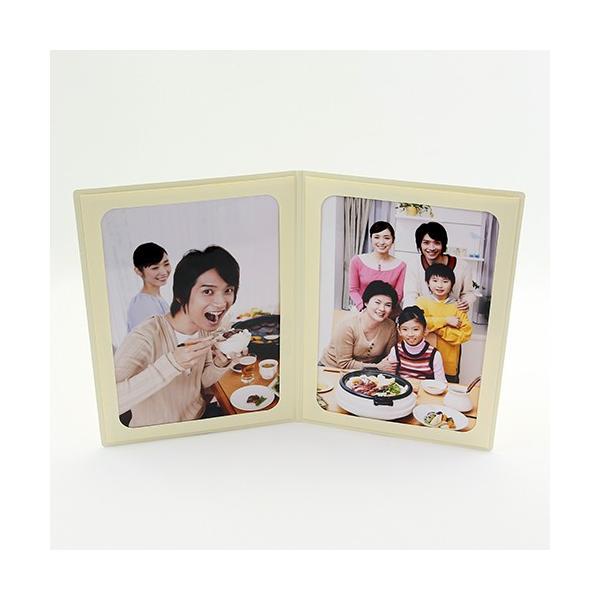 ペーパー フォトフレーム 写真台紙 父の日 ギフト Father's Day/赤いばら 2Lサイズ 2面タテ クリーム|yamadaya-daishi|03