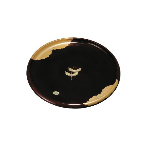 お盆 トレー おしゃれ 丸盆 溜 金雲昇龍 30cm 漆器 和柄 和風 ギフト 名入れ 日本製