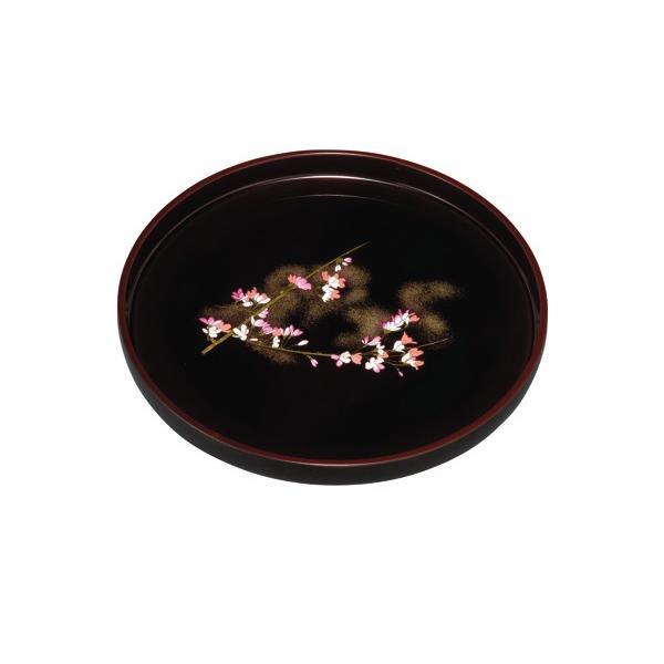 お盆 トレー おしゃれ 丸盆 溜 雅桜 30cm 漆器 和柄 和風 ギフト 名入れ 日本製