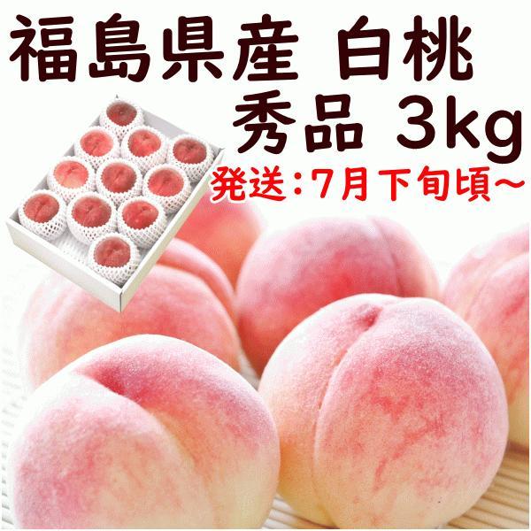 もも 桃 8月中旬頃から発送 福島県産 食べきり白桃 秀品 3,2kg(12〜15個) 送料込 ふくしまプライド。体感キャンペーン(果物/野菜)