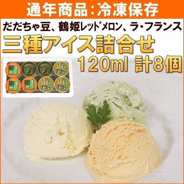 アイス JA鶴岡 三種アイス詰合せ(だだちゃ豆、鶴姫レッドメロン、ラ・フランス) 120ml×計8個 送料込