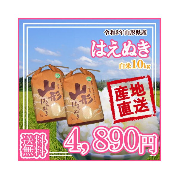 (令和2年産米随時発送)(令和3年産新米予約受付開始)(送料無料)山形県産はえぬき白米10kg(5kg×2) (十キロ)お米(おこめ)白米(はくまい)