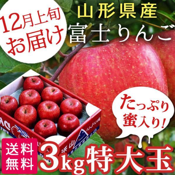 フルーツ りんご 3kg 特大玉 贈答用 約9玉 ふじりんご 12月発送予定 山形県産 送料無料