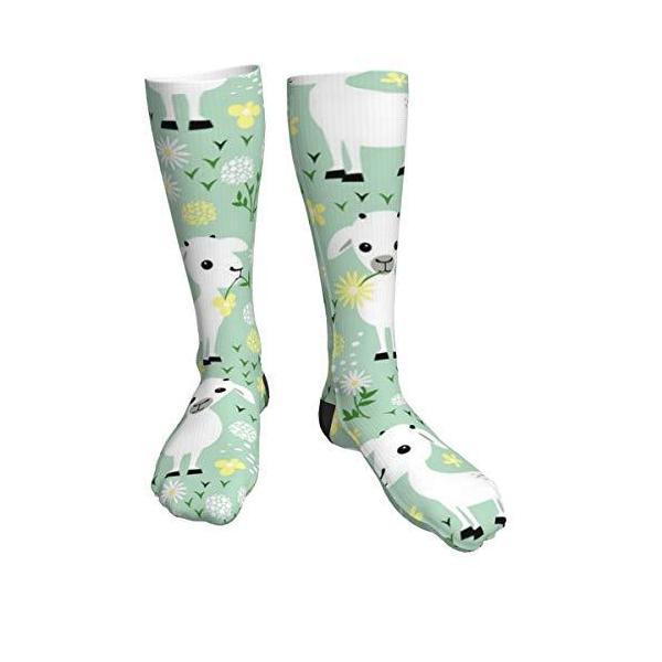 antcreptsonグリーンの上の山羊メンズ/レディース快適カジュアル楽しいロングニーソックス圧縮ソッ