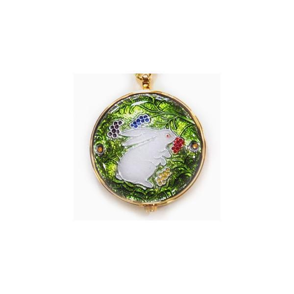 懐中時計 国産 七宝 うさぎと木の実(緑)恋うさぎシリーズ|yamaki