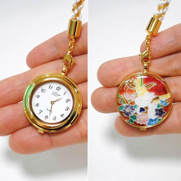 懐中時計 国産 七宝 うさぎのメロディー(赤)恋うさぎシリーズ