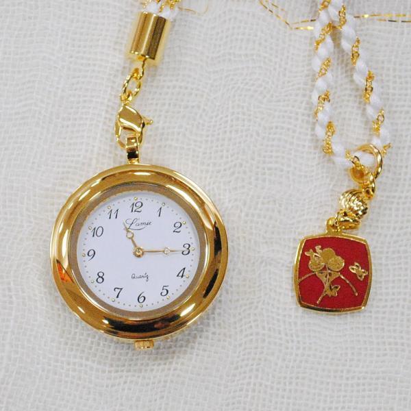 懐中時計 国産 七宝 花と蝶(白)花の香りシリーズ