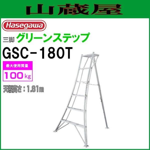 長谷川工業 アルミ三脚脚立 グリーンステップ GSC-180T 天板高さ 1.81m/有効高さ 1.21m|yamakura110