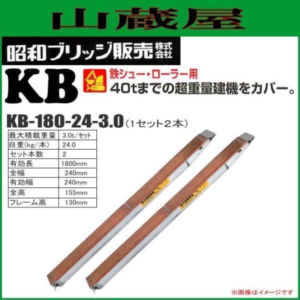昭和ブリッジ アルミブリッジ KB-180-24-3.0(1セット2本) /建設機械等 鉄シュー・ローラ専用 最大積載荷重 3.0t/セット[受注生産]|yamakura110