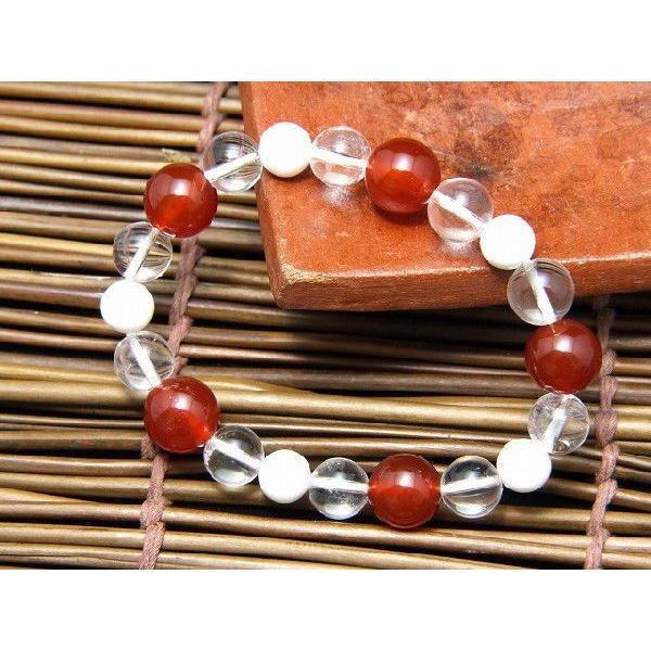 パワーストーン ブレスレット レッドアゲート 赤瑪瑙 水晶  ホワイトシェル 天然石 メンズ レディース