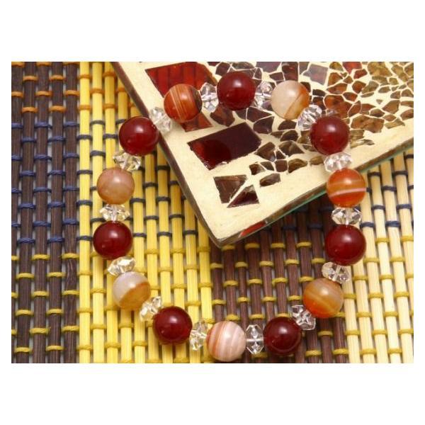 パワーストーン ブレスレット レッドアゲート サードオニキス 水晶 天然石 メンズ レディース