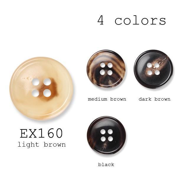 ボタン 本水牛ボタン 1個から対応 コート向け 重厚感のある天然の水牛の角のボタン 本水牛ボタン-25mm 4色展開 EX160