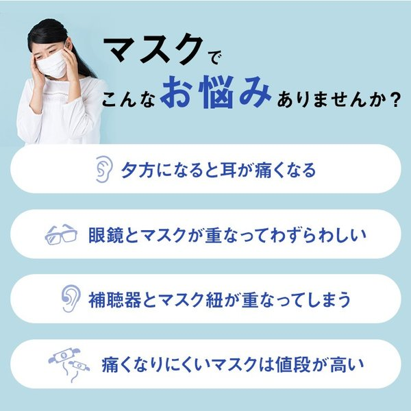 いやぁらっくす 【フリーサイズ】調整機能パーツ付き マスクの痛みを軽減 マスク紐 マスクひも 痛くない フィッシュクリップタイプ いやあらっくす|yamanaka-inc|05