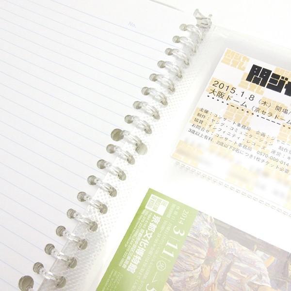 【B5/3P/ファイル】B5リングバインダー3ポケットファイル 透明3ポケット26穴リーフ5枚付属[チケット/コンサート/ライブ/野球/美術館/映画/半券/領収書/保管]|yamanaka-inc|03