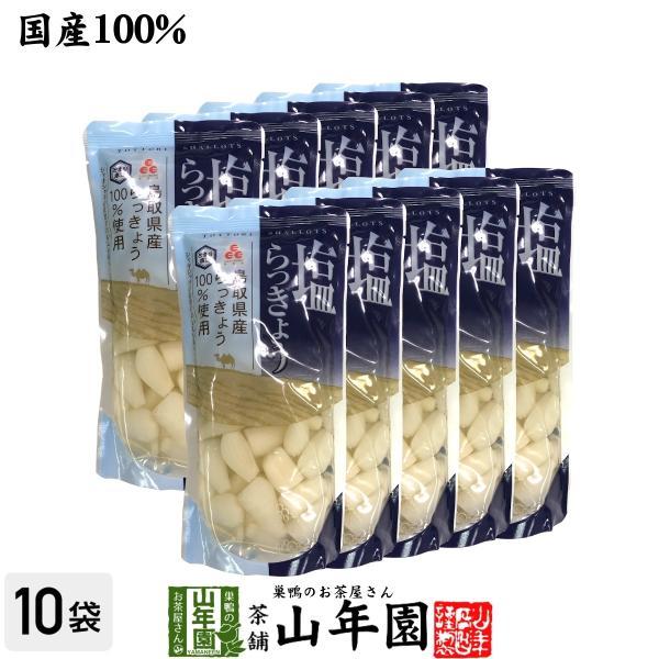 漬物 らっきょう 塩 国産100% 塩らっきょう 220g×10袋セット 送料無料