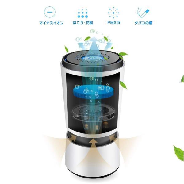 空気清浄機 小型 卓上 空気清浄器 脱臭 静音 タバコ ホコリ除去 花粉 PM2.5対策 省エネ HEPAフィルター (ダックグレー)