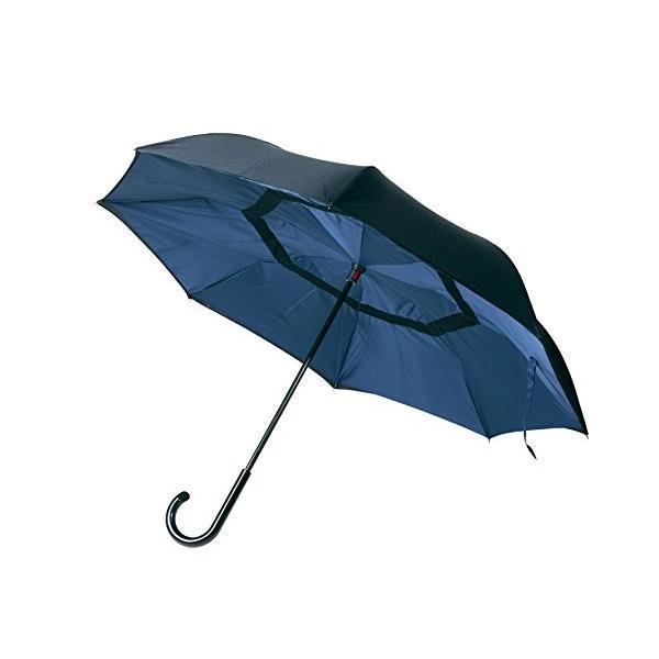 逆傘 逆さに開く二重傘 かさ 長傘 雨傘 梅雨 二重傘 ネイビー×ブラック