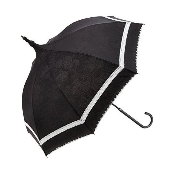 ルミエーブル パルフェローズ 全2色 ショートワイド傘 手開き 日傘/晴雨兼用 ブラック 8本骨 47cm コンパクトな手元伸縮傘 UVカッ