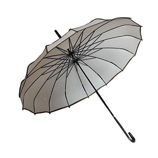 ベィジャン 傘 長傘 16本骨 レディース傘 耐風撥水 梅雨対策 携帯便利 ヴィンテージ おしゃれ 人気 アウトドア用 ベージュ F