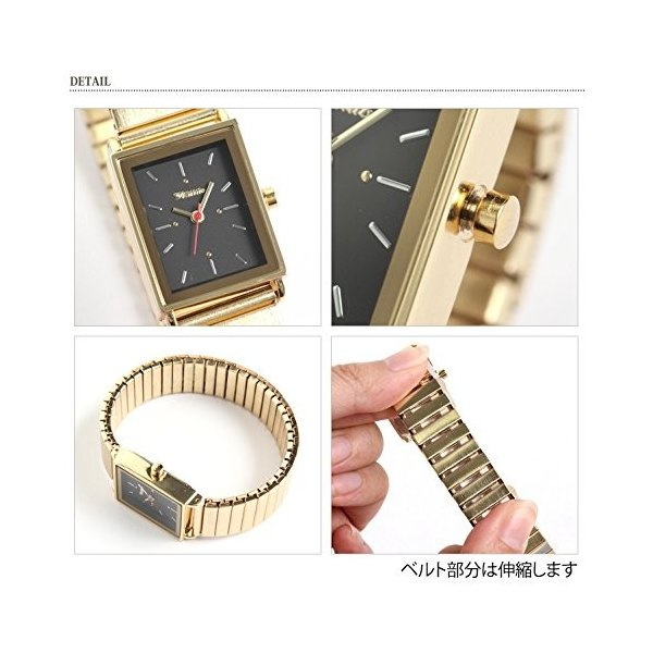 JOKnet ウォッチ レディース ジャバラ スクエア 腕時計 ゴムベルト アナログ シルバー(1) F