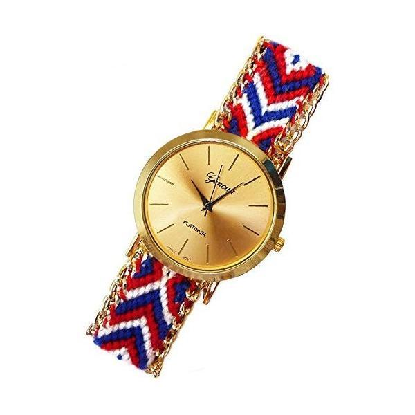 ミサンガウォッチ ジュエリー ゴールド シンプル 赤白青系 時計 夏 トレンド アクセサリー t269-lady