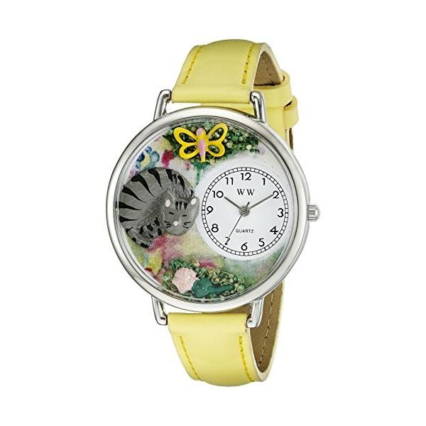 お昼寝猫ちゃん 黄色レザー シルバーフレーム腕時計 #U0120013