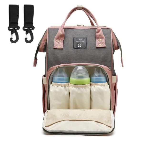 Saniferマザーズバッグ リュック ママバッグ 大容量 多機能 保温ポケット付き 盗難防止ポケット ママ旅行用バッグ 出産準備 お出産祝