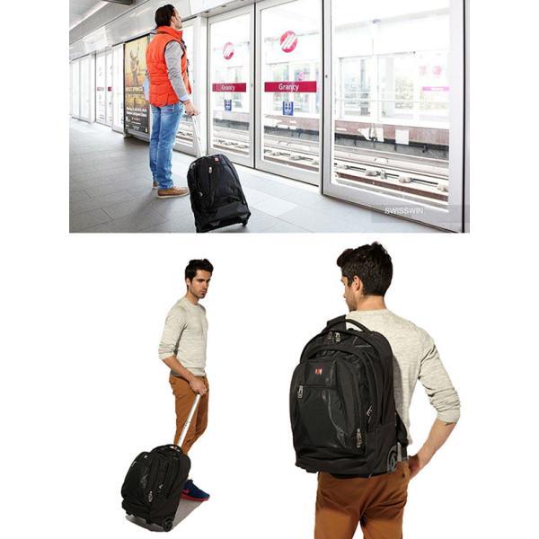 SWISSWIN キャリーバック スーツケース キャリーケース 機内持ち込み 2way メンズ レディース 大容量 軽量 修学旅行 アウトドア 2泊 2輪 キャスター ギフト|yandk|11