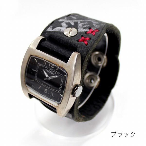 時計 腕時計 レザー ユニセックス ハンドメイド ギフト 栃木レザー 日本製 レザーマルチボーダーパッチウォッチ|yandk|02