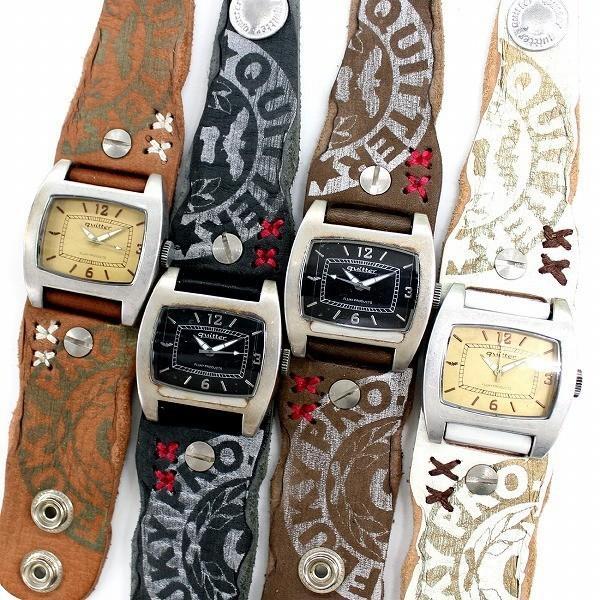 時計 腕時計 レザー ユニセックス ハンドメイド ギフト 栃木レザー 日本製 レザーマルチボーダーパッチウォッチ|yandk|06