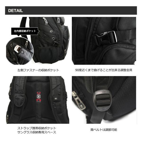 SWISSWIN リュック レディース メンズ 通勤 通学 PC リュックサック A4 ブランド 大きい アウトドア 小物入れ 多機能 黒