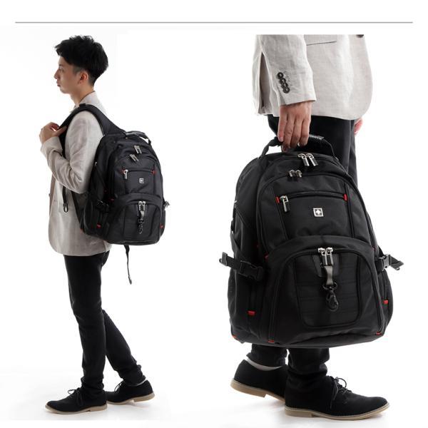 SWISSWIN バックパック リュックサック ブランド ビジネスリュック メンズ 旅行用バック 鞄 サイドポケット 通勤 通学 B4 ポケット 多い 多機能 撥水 ギフト|yandk|03