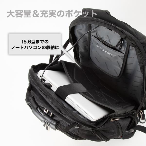 SWISSWIN バックパック リュックサック ブランド ビジネスリュック メンズ 旅行用バック 鞄 サイドポケット 通勤 通学 B4 ポケット 多い 多機能 撥水 ギフト|yandk|05