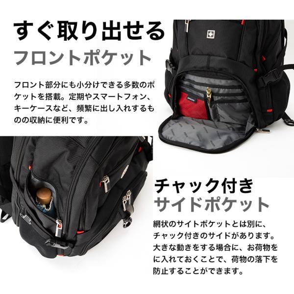 SWISSWIN バックパック リュックサック ブランド ビジネスリュック メンズ 旅行用バック 鞄 サイドポケット 通勤 通学 B4 ポケット 多い 多機能 撥水 ギフト|yandk|07