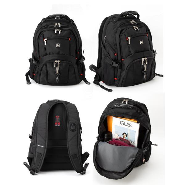 SWISSWIN バックパック リュックサック ブランド ビジネスリュック メンズ 旅行用バック 鞄 サイドポケット 通勤 通学 B4 ポケット 多い 多機能 撥水 ギフト|yandk|08