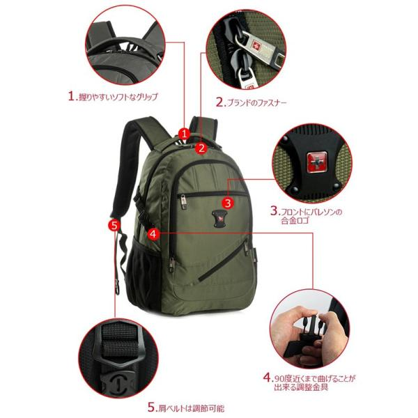 SWISSWIN バックパック リュック リュックサック 鞄 ブランド メンズ レディース 通勤用 通学用 大容量 サイドポケット 旅行用バック 撥水素材 マザーバッグ|yandk|07