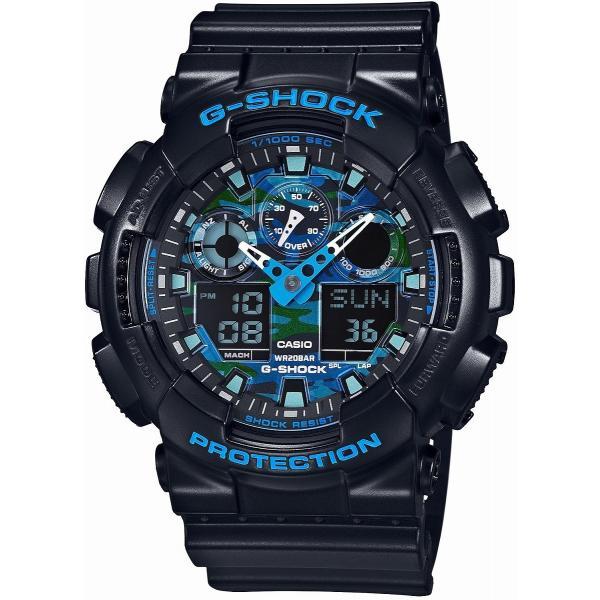クーポンでお得!カシオ Gショック GA-100CB-1AJF CASIO G-SHOCK メンズ 腕時計 ブラック×ブルー カモフラージュ アナデジ  |yano1948|02