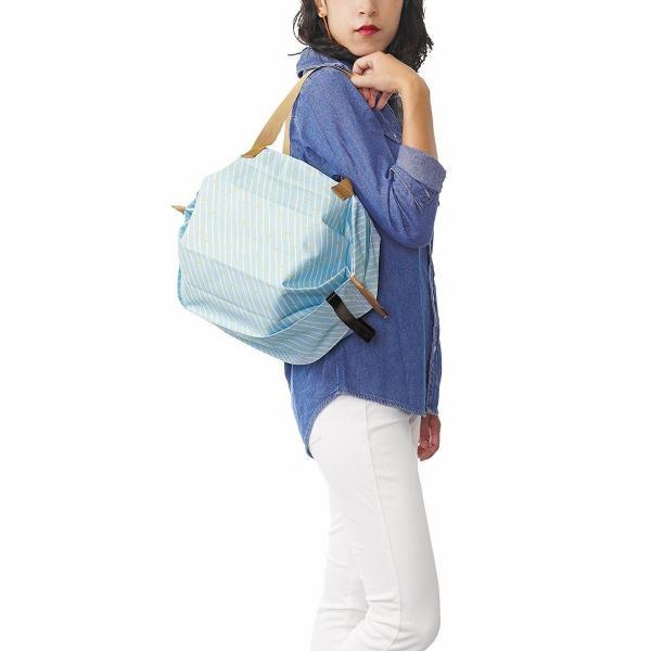 Shupatto シュパット 保冷バッグ Mサイズ<ストライプ>S-445S エコバッグ MARNA マーナ クーラーバッグ 水色 ブルー yasac 03