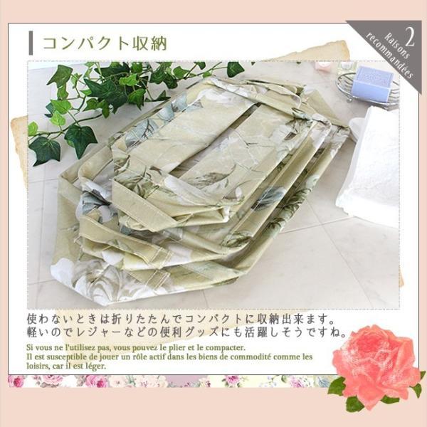 収納ボックス3点セット バラ柄 収納BOX おしゃれ 折りたたみ 水回り 樹脂コーディング 収納ボックスセット 多目的ボックス カントリー 花柄 アンティーク|yasashii-kurashi|03