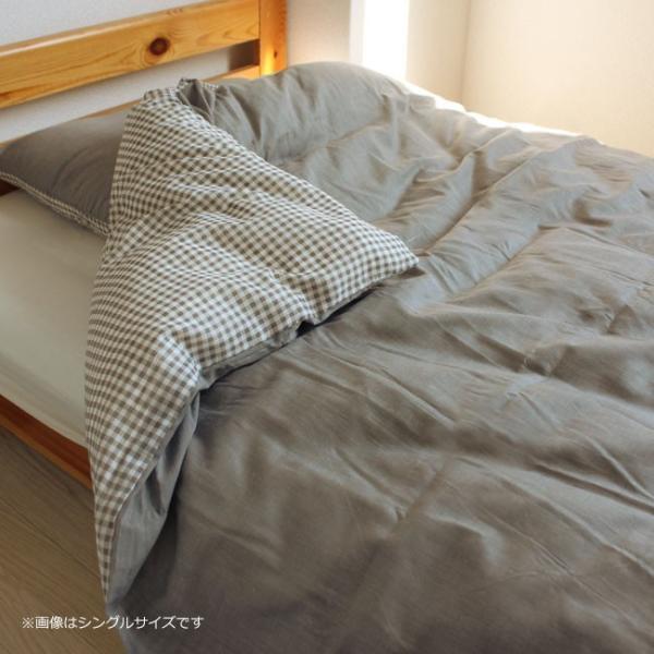 掛け布団カバー ダブル おしゃれ ギンガムチェック 無地 おしゃれ かわいい リバーシブル 150×210 yasashii-kurashi 06