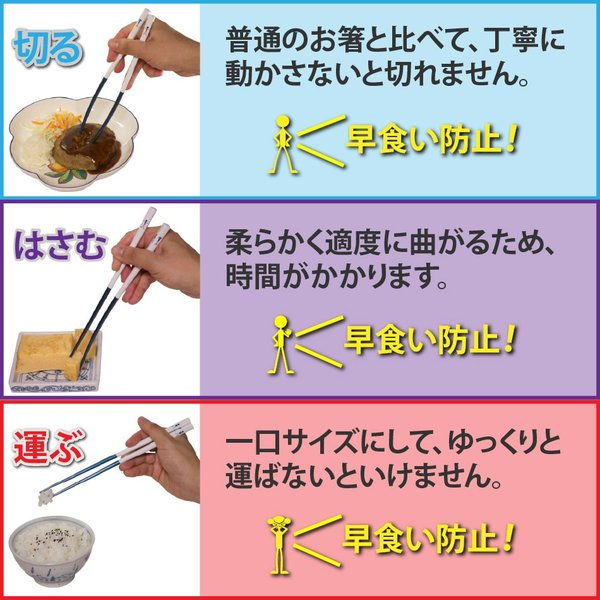 痩せ箸(やせばし) STYMB60 ダイエット 箸 22cm 日本製 マーブルブルー yasebashi 05