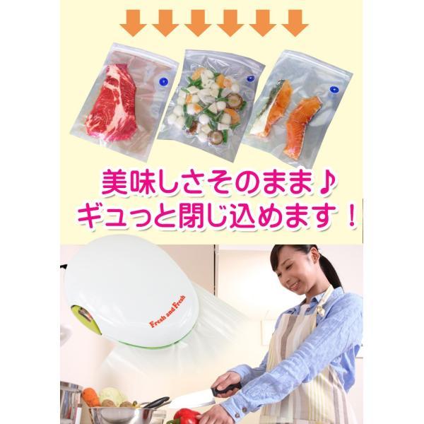 家庭用真空パック器 フレッシュ&フレッシュ フードシーラー 何度も使用できる保存袋35枚セットで真空保存|yasuizemart|02