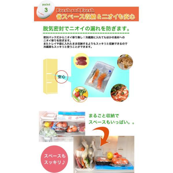 家庭用真空パック器 フレッシュ&フレッシュ フードシーラー 何度も使用できる保存袋35枚セットで真空保存|yasuizemart|05