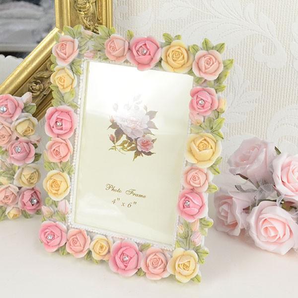 フォトフレーム 写真立て おしゃれ 花柄 薔薇雑貨 ギフト LCD1945|yasunaga