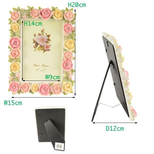 フォトフレーム 写真立て おしゃれ 花柄 薔薇雑貨 ギフト LCD1945|yasunaga|02