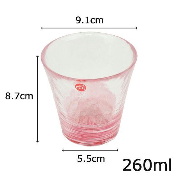 津軽びいどろ グラス ガラス コップ 父の日プレゼント 260ml 桜 紅 選べる6色|yasunaga|03