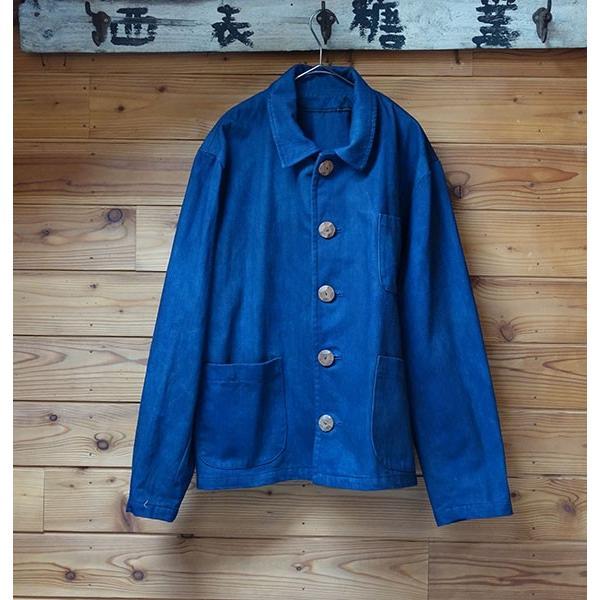 藍染と泥と墨で染めたソフトデニム生地のメンズジャケット|yatsugatakestyle