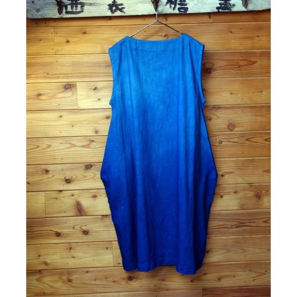 藍染め手染めのジャンバースカート|yatsugatakestyle|02