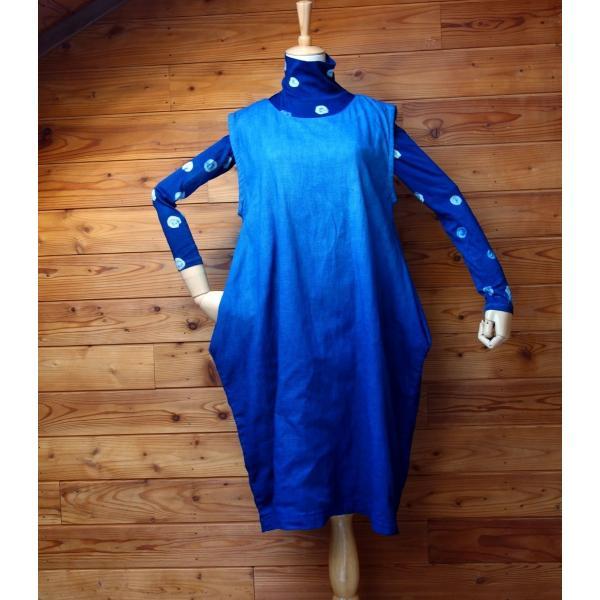 藍染め手染めのジャンバースカート|yatsugatakestyle|03