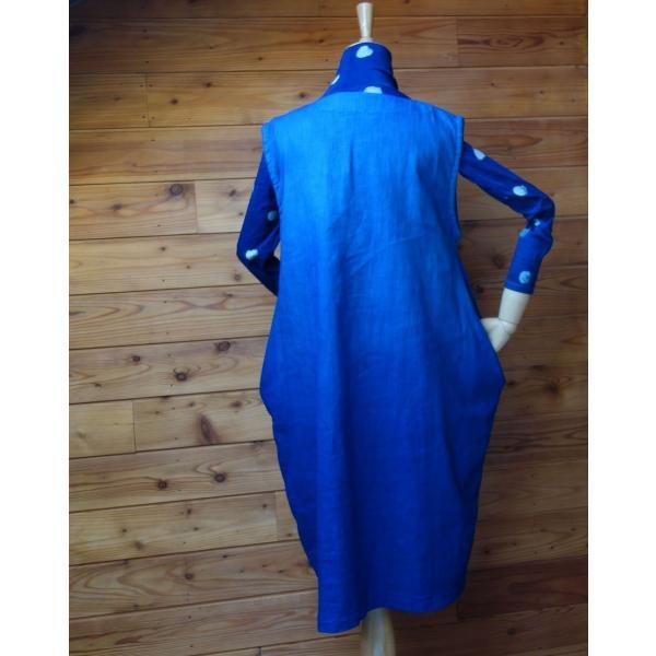 藍染め手染めのジャンバースカート|yatsugatakestyle|04